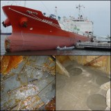 Reparação de rombo de navio - Rombo tamponado com chapas soldadas e posterior enchimento com betão adequado